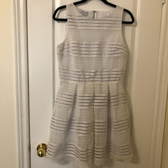 Bebe white striped fit and flare dress 👗Size L
